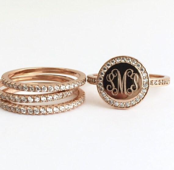 Rose Gold Ring Set Monogram Stacking Ring Personalized
