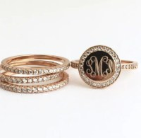 Rose Gold Ring Set Monogram Stacking Ring Personalized