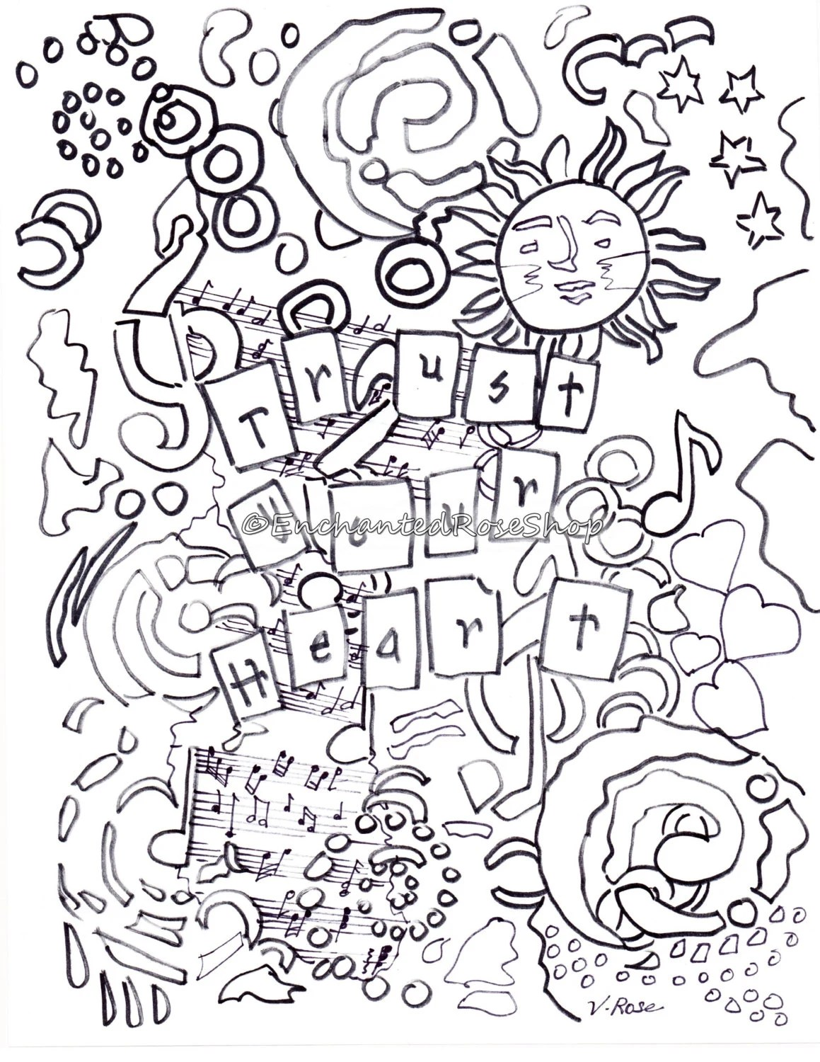 Items similar to Trust Your Heart Adult Coloring Pages