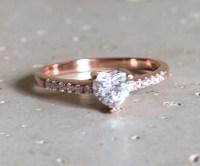 Rose Gold Heart Ring Rose Gold Promise Ring Heart Shape