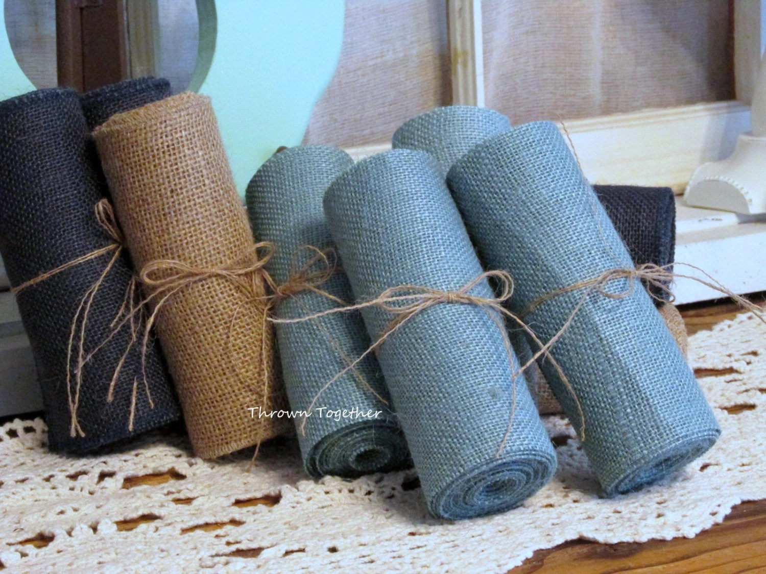 burlap chair sashes canada shabby chic desk faded denim ribbon 6 quot wide