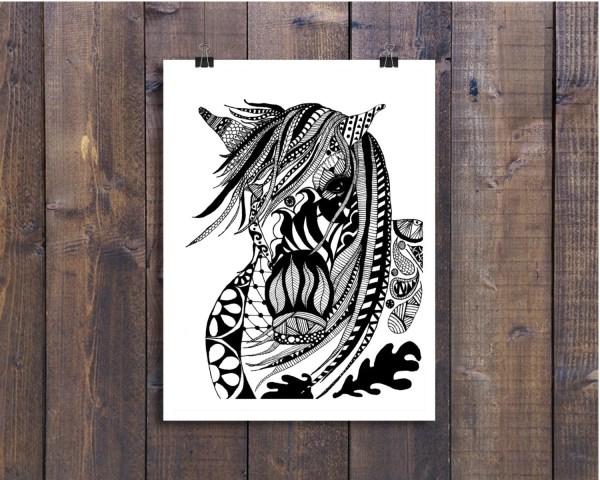 Black And White Art Pen Ink Animals Horse Masquerade