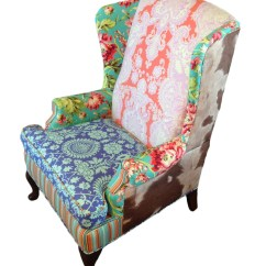 Upholstered Wingback Chair Chromcraft Dining Chairs Casters Vintage With Amy Butler Fabric