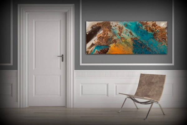 Blue And Copper Art Wall Prints Fine