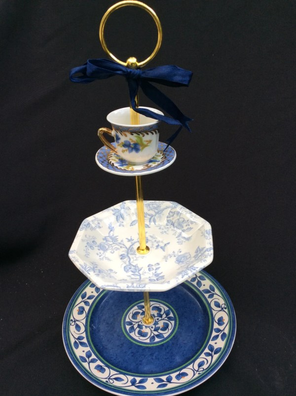 Wedding Cake Stand Blue White 3 Tier Serving Tray Tiered