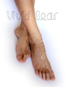 Barefoot Sandals. Foot Jewelry. Gold Chain. Charms. Boho