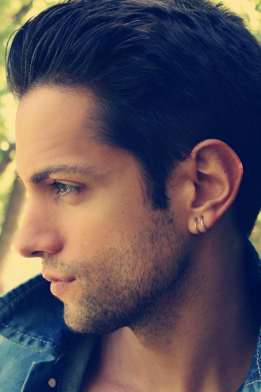Mens silver hoop earrings gentleman earrings in sterling