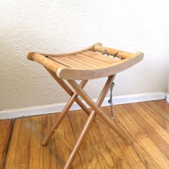 Yugoslavian Folding Chair With Nailhead Trim Vintage Nevco Wooden Stool / Plant Stand