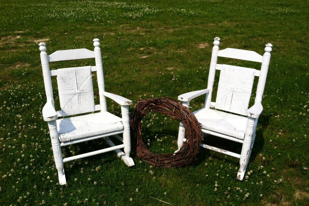 white wood rocking chair king and queen rental antique wooden childrens set of 2