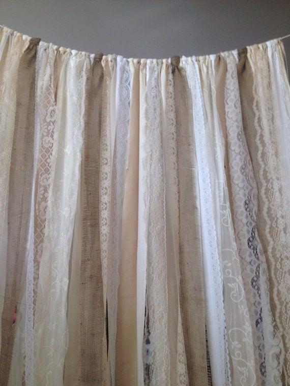 Burlap Curtains Ribbon lace Curtain Rustic Garland Boho