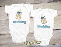 Drinking Buddies Set of Twin Boys Shirt Twin Onesies Newborn