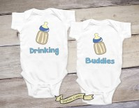 Drinking Buddies Set of Twin Boys Shirt Twin Onesies Newborn