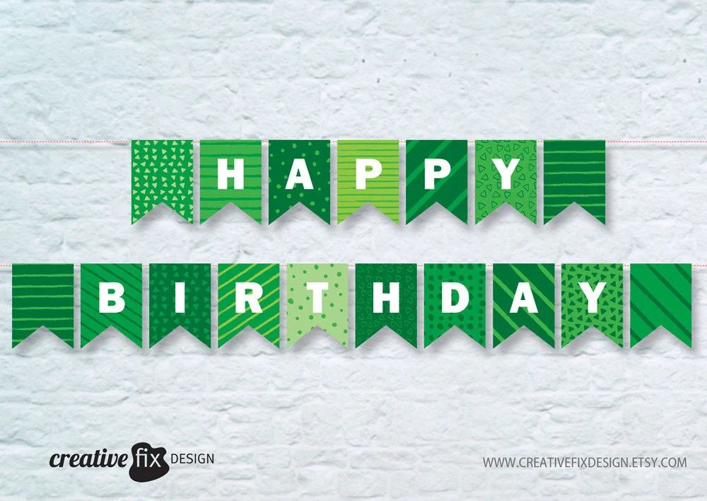 green happy birthday banner