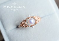 Vintage Rose Pearl Engagement Ring 14K/18K Solid Rose Gold