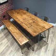 Reclaimed Industrial Pallet Wood Dining Table With Metal