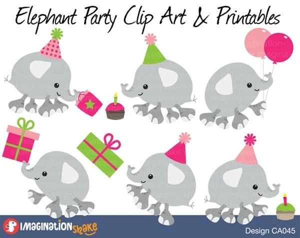 Pink Elephant Birthday Party Clip Art & Printables Set