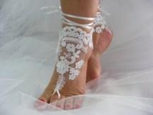 White Lace Barefoot Sandals Beach Wedding Ceandbo