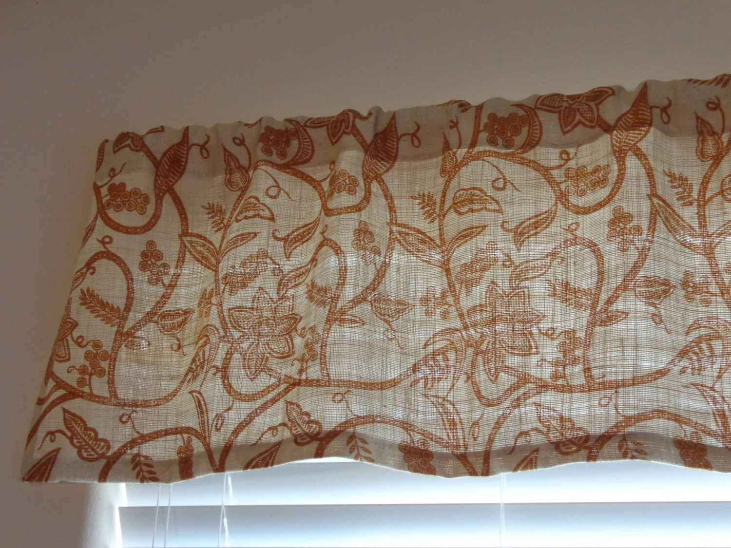 Burlap Jute Rust Colored Print Valance 16 X 47
