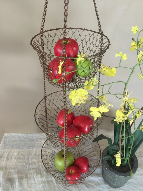 Vintage Three Tier Hanging Baskets Distressed Finish