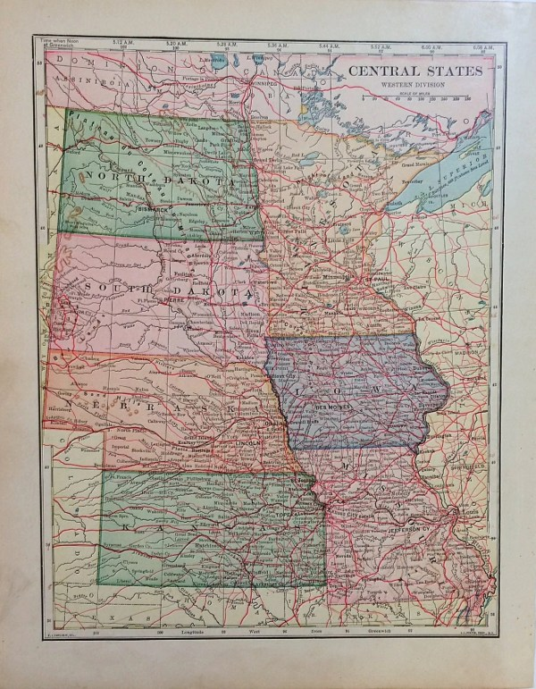 Central States Map Antique Map of Missouri Iowa Minnesota
