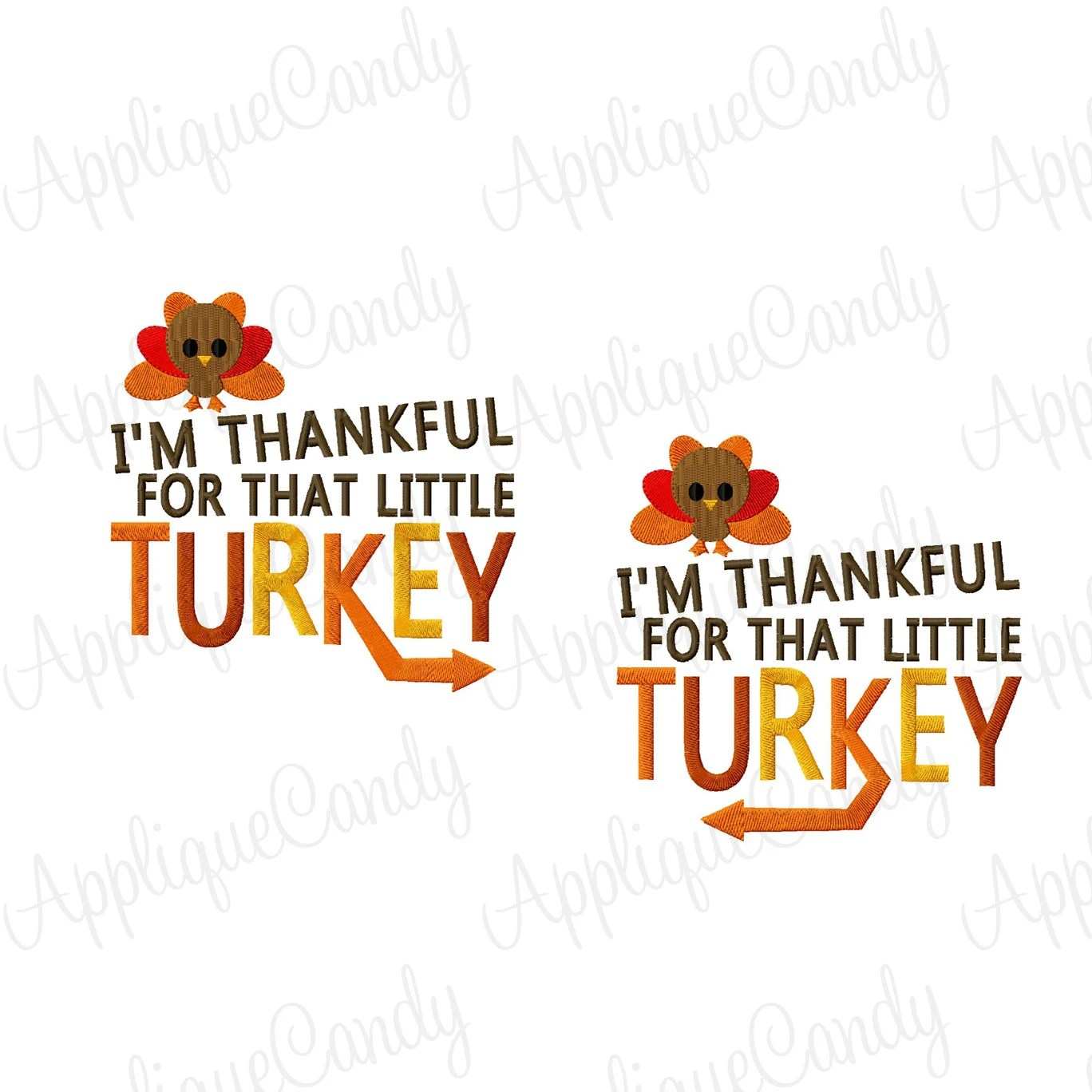 I M Thankful For That Little Turkey Arrow Set Embroidery