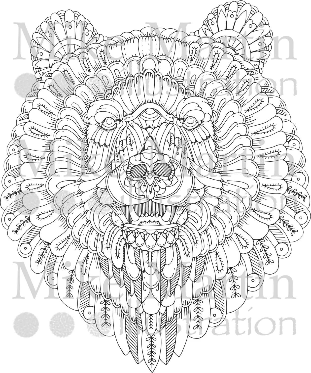 Printable Ornate Grizzly Bear Instant Download Adult Colouring