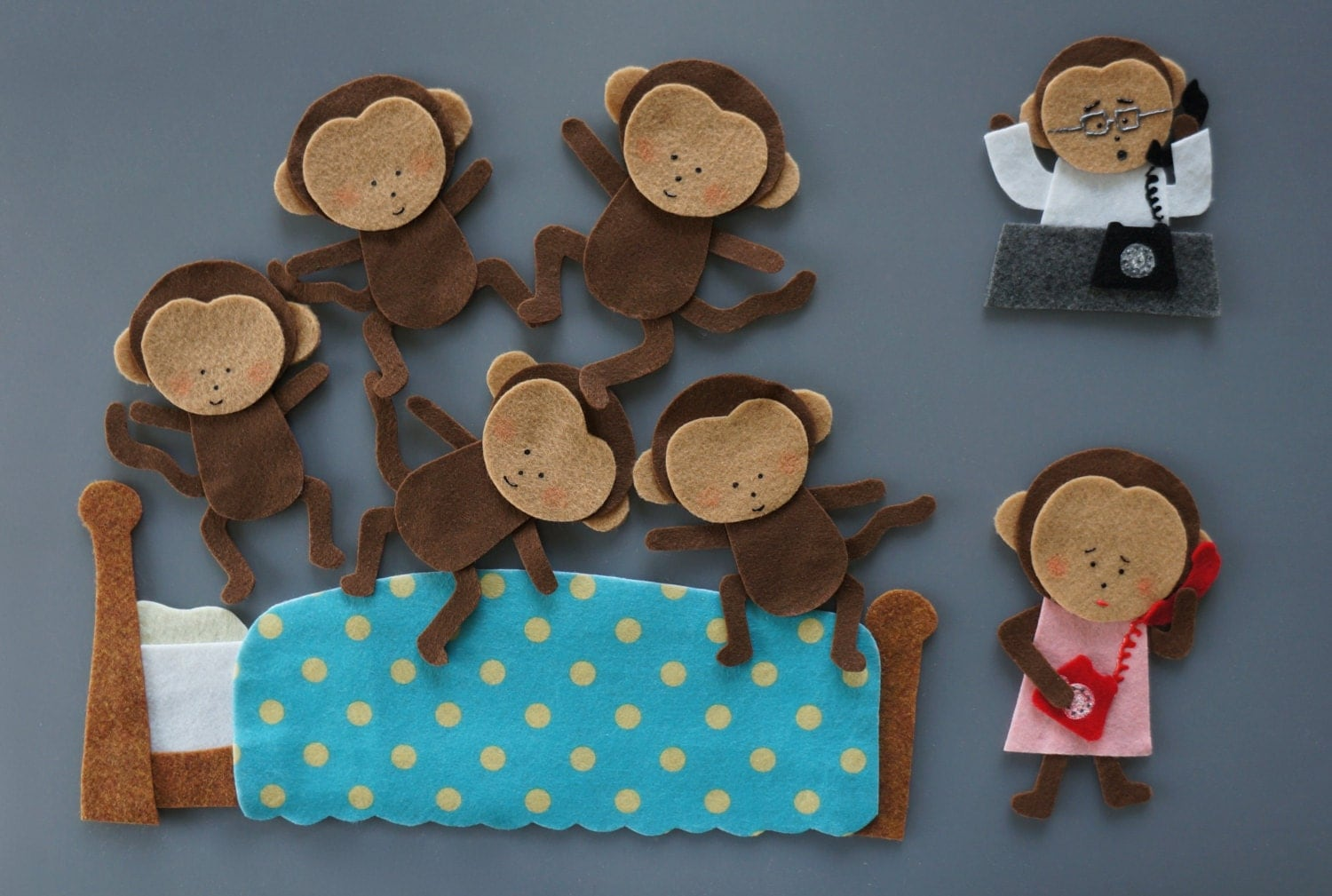 Five Little Monkeys Felt Set Jumping On Bed Amp Hanging On