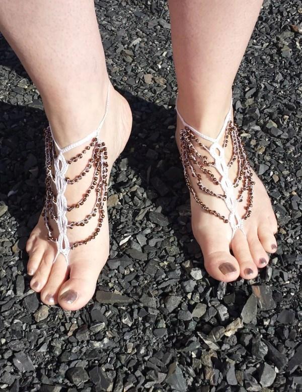 Beaded Chain Crochet Barefoot Sandals Pattern Glass Bead 20