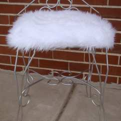 White Fuzzy Chair Wheelchair Height Furry Vanity