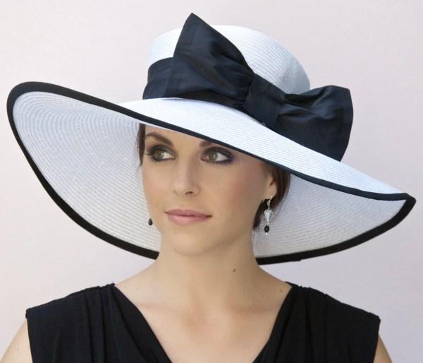 Wedding Hat Black And White Wide Brim Derby