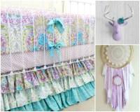 Lavender Boho Baby Girl Crib Bedding Purple baby bedding
