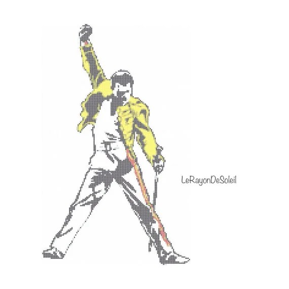 Freddie Mercury Modern cross stitch pattern Queen tribute