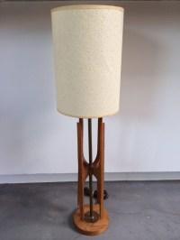 Modern Teak And Brass Narrow Table Lamp