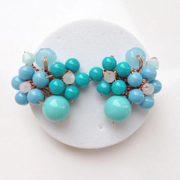 Baby Blue Stud Earrings Floral Jewellery Women