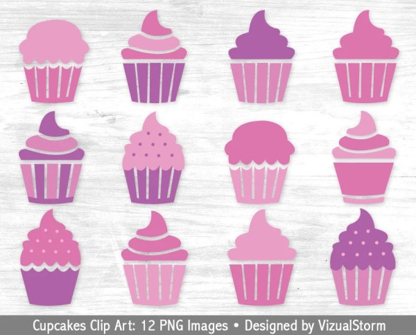 pink cupcake clipart digital cupcakes