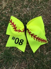 softball hair bow tie personalized