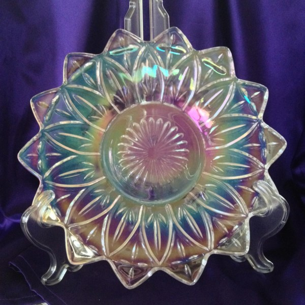 Clear Iridescent Carnival Glass Plate