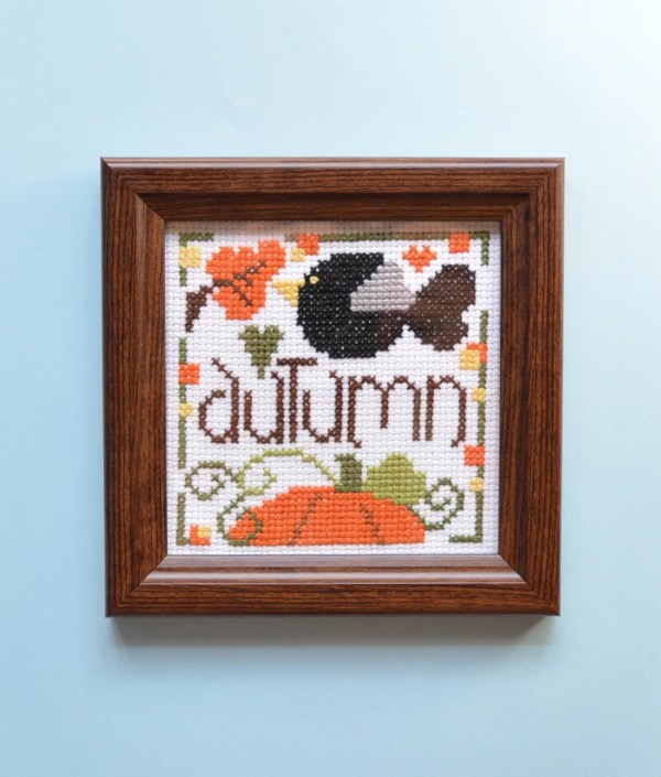 Completed Cross Stitch Fall Ornament Framed