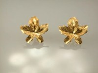 14K Yellow Gold Maple Leaf Earrings Gold Studs Maple Leaf