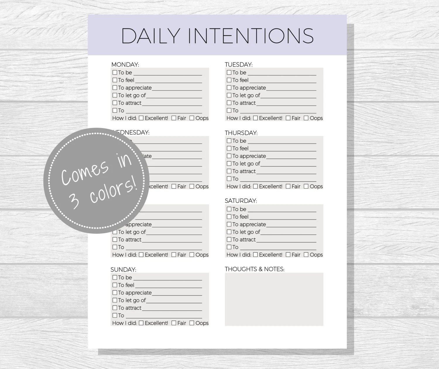 Daily Intentions Printable Daily Affirmations Daily Goal