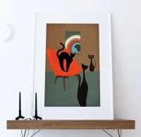 Mid Century Modern Print Cats Abstract Art Print Poster Giclee