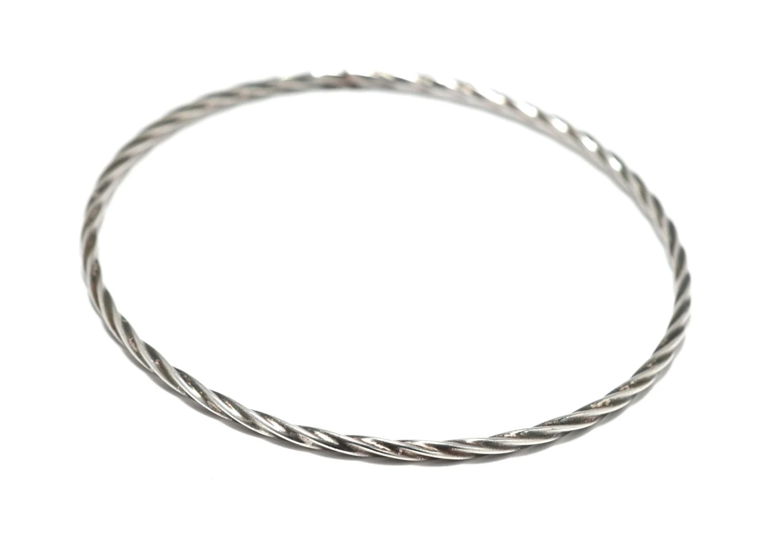 Thin Twisted Sterling Silver Wire Bangle