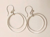 Thin Silver Hoop Earrings Thin Double Hoop Earrings Double