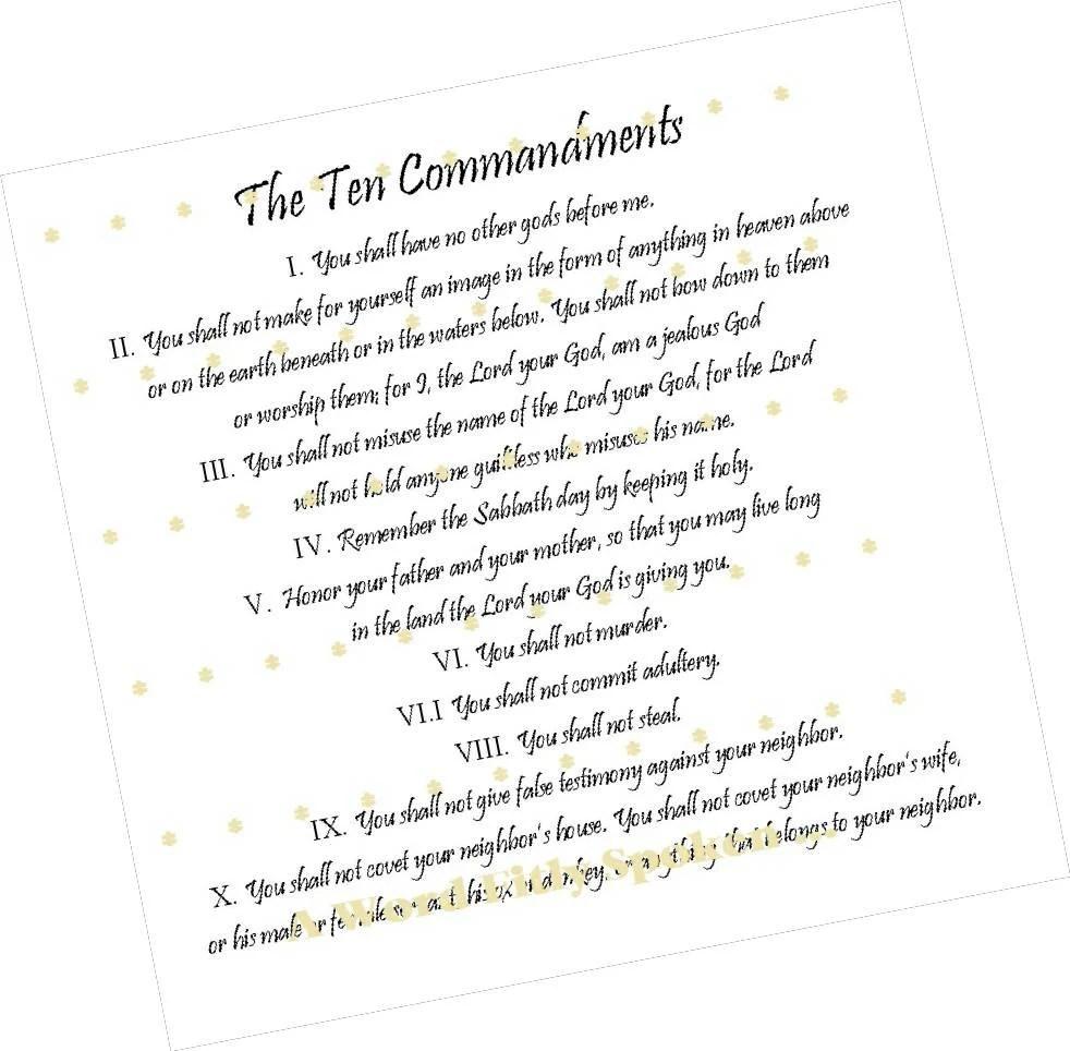 DESTASH 8x8 Pre-printed Fabric Panel Ten Commandments Exodus
