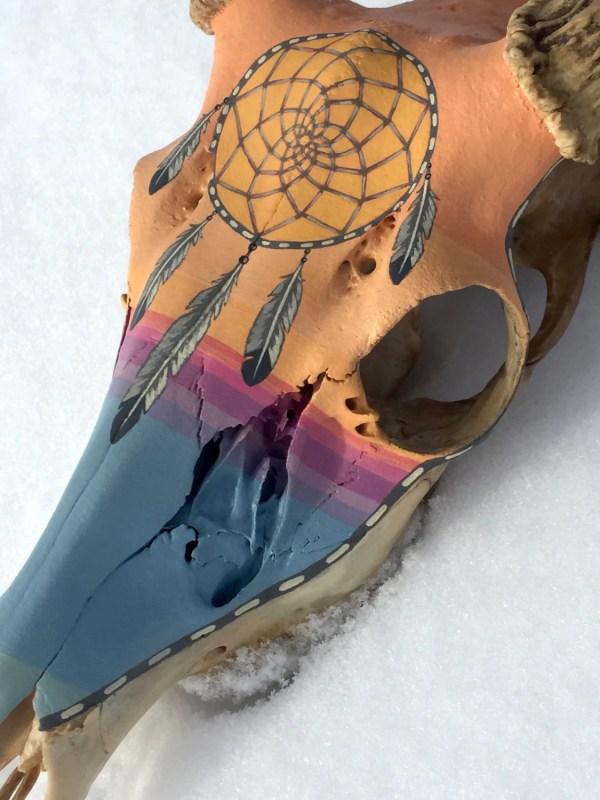 Dreamcatcher Painted Deer Skullsouthwestern Sunset