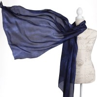 Navy blue evening silk wrap / midnight blue scarf for women