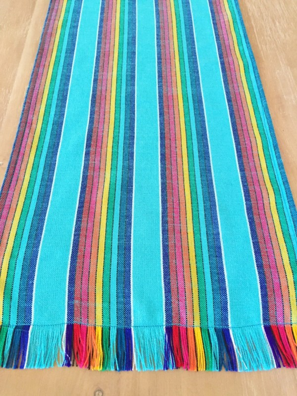 Mexican table runner tablecloth or napkins Washed look aqua