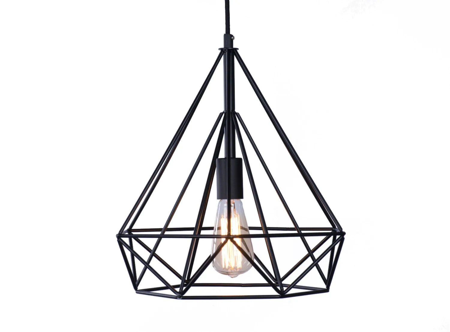 Industrial Style Wrought Iron Diamond Pendant Light By
