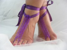 Purple Ooak Crochet Barefoot Sandals Beach Wedding