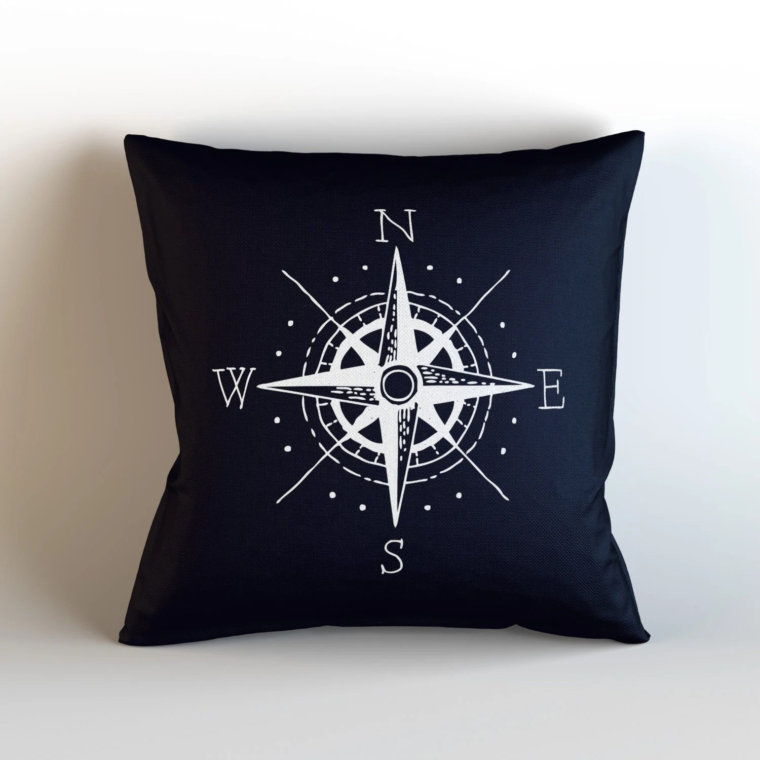 nautical sofa pillows single foam bed chair compass decorative throw pillow with optional